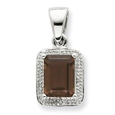 Sterling Silver Rhodium Emerald-cut Smokey Qtz and Diamond Pendant