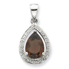 Sterling Silver Rhodium Smokey Quartz and Diamond Pendant