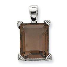 Sterling Silver Rhodium Smokey Quartz Diamond Pendant