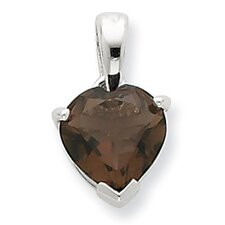 Sterling Silver Rhodium Smokey Quartz Pendant