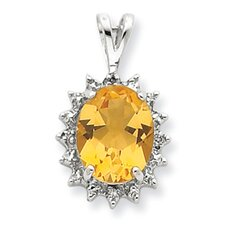 Sterling Silver Rhodium Pear Citrine and Diamond Pendant
