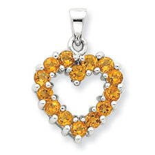 Sterling Silver Rhodium Citrine Heart Pendant