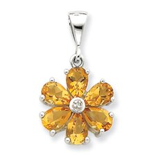 Sterling Silver Rhodium Citrine and Diamond Flower Pendant
