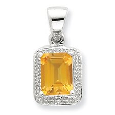 Sterling Silver Rhodium Emerald-cut Citrine and Diamond Pendant