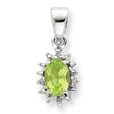 Sterling Silver Rhodium Peridot and Diamond Pendant