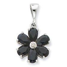 Sterling Silver Rhodium Dark Sapphire and Diamond Flower Pendant