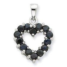 Sterling Silver Rhodium Sapphire Pendant
