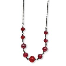 <strong>Jewelryweb</strong> Black-plated Red Crystal Beaded 16 InchWith ext Necklace