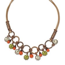 Copper-tone Green and Ivory Enamel Orange Beads 16inch With Ext Necklace