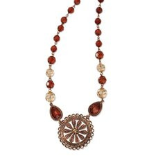 Copper-tone Lt. Colorado and Brown Crystal 16inch With Ext Necklace