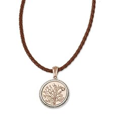 Copper-tone Give Life and Tree Reversible Pendant16inch With Ext Necklace