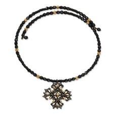 Brass-tone Black-plated Cross Pendant15.5 Crystal Flex Wrap Necklace