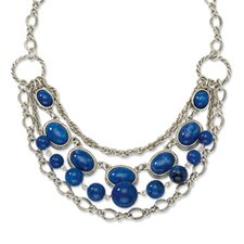 Silver-tone Blue Beads 16inch With Ext Necklace