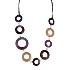 Purple Coco Circles Brown Cord 28inch Necklace