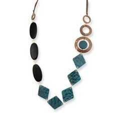 Gold-tone Turq. Blk Natural Wood Coconut Gen. Fish Skin Necklace
