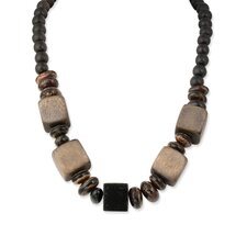 Anipay Seed and Black Grey Natural Wood Necklace