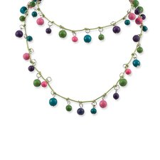 Green Turquoise Fuchsia Hamba Wood 32inch Necklace