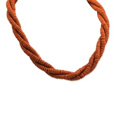 Orange Coconut and Natural Wood Self-tie Necklace