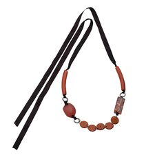 Red Natural Wood Coco and Broken Capiz Self-tie Necklace