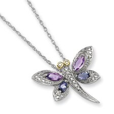 Sterling Silver and 14K Amethyst and Iolite and Diamond Dragonfly Necklace - 17 Inch