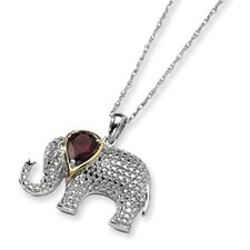 Sterling Silver and 14K Garnet and Diamond Elephant Necklace - 17 Inch
