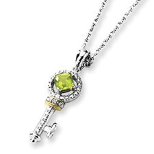 Sterling Silver and 14K Peridot and Diamond Key Necklace - 17 Inch