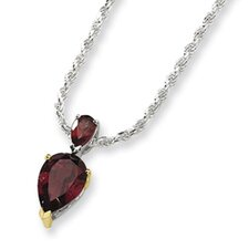 Sterling Silver and 14K Garnet Necklace - 18 Inch