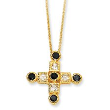 Gold-plated Sterling Silver Black and White CZ Cross Necklace - 18 Inch
