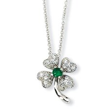 Sterling Silver Childs Sim.Emerald CZ 4-leaf Clover Necklace - 15 Inch