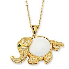 Gld-pltd Sterling Silver FauxAgate CZ Sim.Emerald Elephant Necklace - 18 Inch