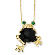 Gold-plated Sterling Silver Onyx and Simulated Emerald Frog Necklace - 18 Inch