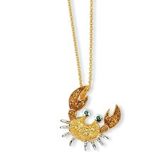 Gold-plated Sterling Silver CZ and Sim. Emerald Crab Necklace - 18 Inch