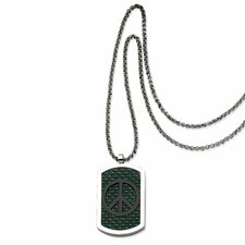 <strong>Jewelryweb</strong> Stainless Steel Cross and Peace Symbol Reversable Dog Tag Necklace - 22 Inch