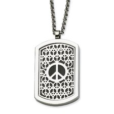 Stainless Steel Peace Symbol and Fancy Reversable Dog Tag 22 in Necklace - 22 Inch