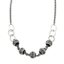 <strong>Jewelryweb</strong> Stainless Steel Black Diamond-Cut Beads Necklace