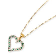 <strong>Jewelryweb</strong> Sterling Silver and Gold-plated Dia. and Emerald 18inch Heart Necklace
