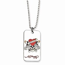 Ed Hardy Skull Heart Dog Tag Painted 24inch Necklace