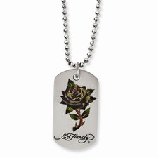 <strong>Jewelryweb</strong> Stainless Steel Ed Hardy Painted Rose Dog Tag 24inch Necklace