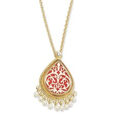 Gold-plated Enamel 17inch With 3In ext French Moroccan Pin Pendant