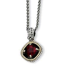 Sterling Silver With 14k 2.38Garnet 18inch Necklace