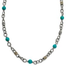 Sterling Silver With 14k Turquoise 20inch Necklace