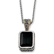 Sterling Silver With 14k 29.00Black Onyx 18inch Necklace