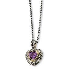 Sterling Silver and 14k 1.82Amethyst Heart 18inch Necklace