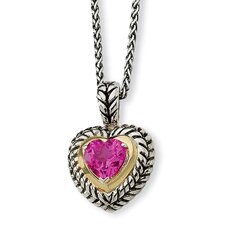 Sterling Silver With 14k 8mmCreated Pink Sapphire Heart 18inch Necklace