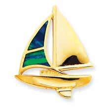 14K Created Opal Sailboat Slide