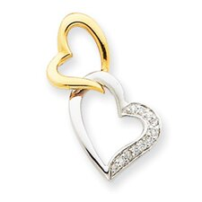 14k Two-tone Diamond Heart Slide