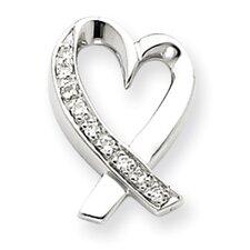 14k White Gold Diamond Heart Slide