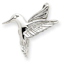 14k White Gold Polished Open-Backed Hummingbird Chain Slide - Measures 18.4x19mm