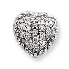 Sterling Silver CZ Heart Slide