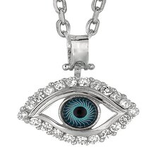 <strong>Jewelryweb</strong> Sterling Silver Rhodium Plated Eye Round PendantWith CZ - 18 Inch